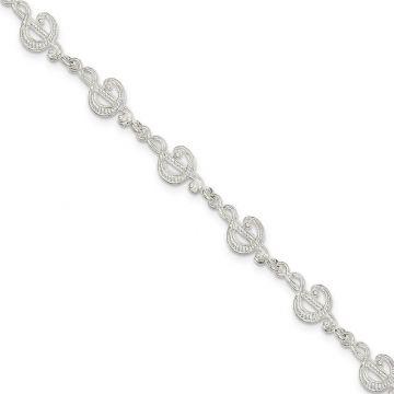 Quality Gold Sterling Silver Treble Clefs Bracelet
