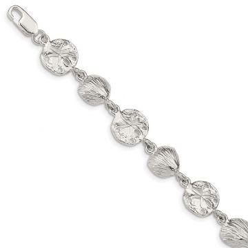 Quality Gold Sterling Silver Seashells & Sand Dollars Bracelet