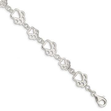 Quality Gold Sterling Silver Polished Paw Print Bracelet