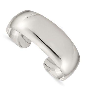 Quality Gold Sterling Silver Solid Polished Plain Cuff Bangle Bracelet