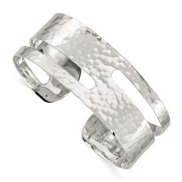 Quality Gold Sterling Silver Solid Polished Hammered Fancy Cuff Bangle Bracelet