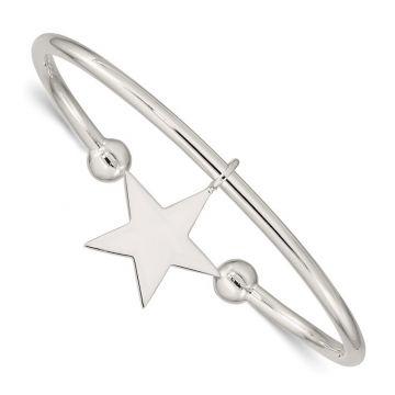 Quality Gold Sterling Silver Star Bangle Bracelet