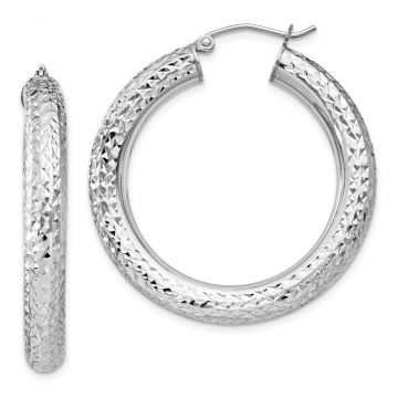 Quality Gold Sterling Silver Rhodium-plated Diamond Cut Hinged Hoop Earrings