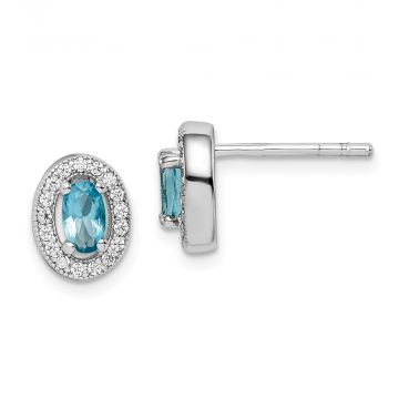 Quality Gold Sterling Silver Rhodium-plated   Light Blue & White CZ Oval Stud Earrings