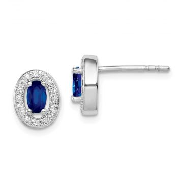 Quality Gold Sterling Silver Rhodium-plated   Blue & White CZ Oval Stud Earrings