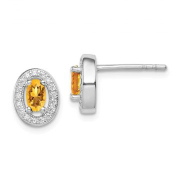 Quality Gold Sterling Silver Rhodium-plated   Yellow & White CZ Oval Stud Earrings
