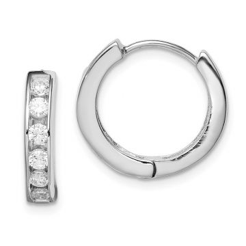Quality Gold Sterling Silver Rhodium-plated CZ Hoop Earrings
