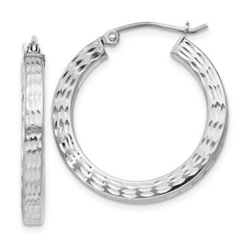 Quality Gold Sterling Silver Rhodium-plated Diamond Cut Square Hoop Earrings