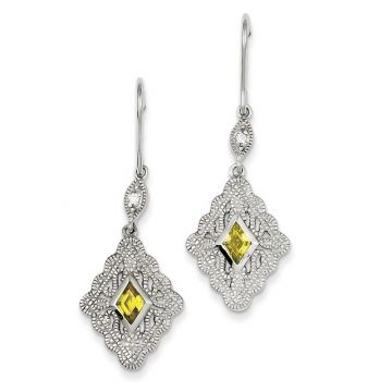 Quality Gold Sterling Silver Yellow & Clear CZ Dangle Earrings