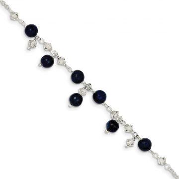 Quality Gold Sterling Silver Shade Crystal Lapis Anklet Bracelet