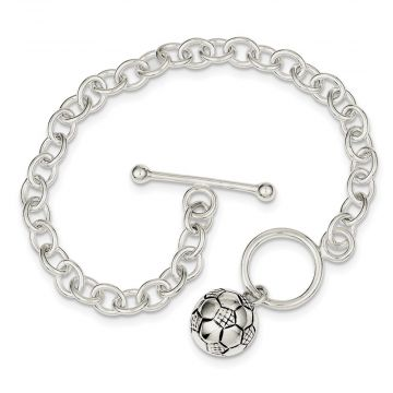 Quality Gold Sterling Silver Soccer Ball Bracelet