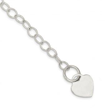 Quality Gold Sterling Silver Toggle Link Heart Bracelet
