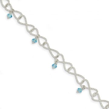 Quality Gold Sterling Silver Textured Aquamarine Colored Glass Bead Bracelet