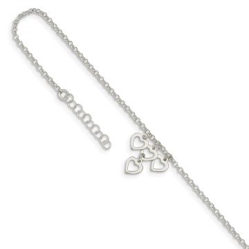 Quality Gold Sterling Silver Open Heart Dangles Anklet
