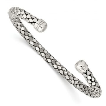 Quality Gold Sterling Silver Textured Cuff Bracelet
