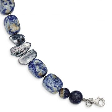 Quality Gold Sterling Silver Sodalite & Grey FW Cultured Pearl Bracelet