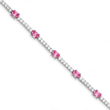 Quality Gold Sterling Silver Rhodium-plated 7inch Pink and Clear CZ Bracelet