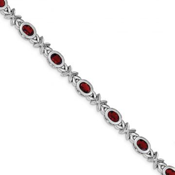 Quality Gold Sterling Silver Rhodium Plated Garnet Bracelet