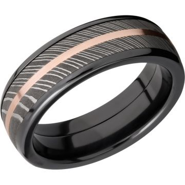 Lashbrook Black Rose & White Zirconium 7mm Men's Wedding Band