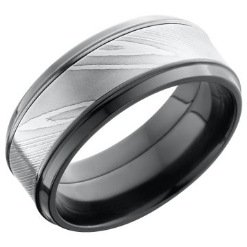 Lashbrook Black & White Zirconium Men's Wedding Band