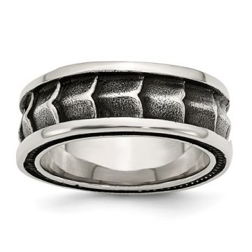Chisel Stainless Steel Polished And Antiqued 9mm Men's Band