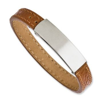 Stainless Steel Light Brown Leather Adjustable 8.25in Bracelet
