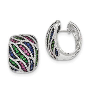 Quality Gold 14k White Gold Diamond, Garnet & Sapphire Hinged Post Earrings