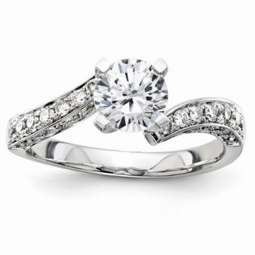 Quality Gold 14k White Gold Semi-Mount Diamond Engagement Ring