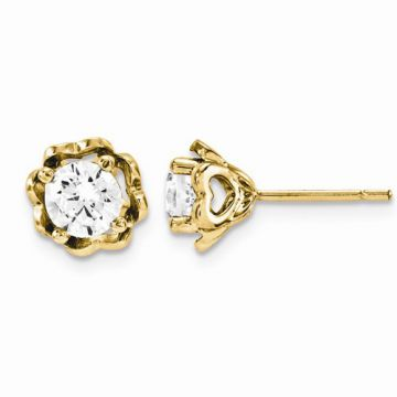 Quality Gold 14k Yellow Gold & Diamond Post Earrings