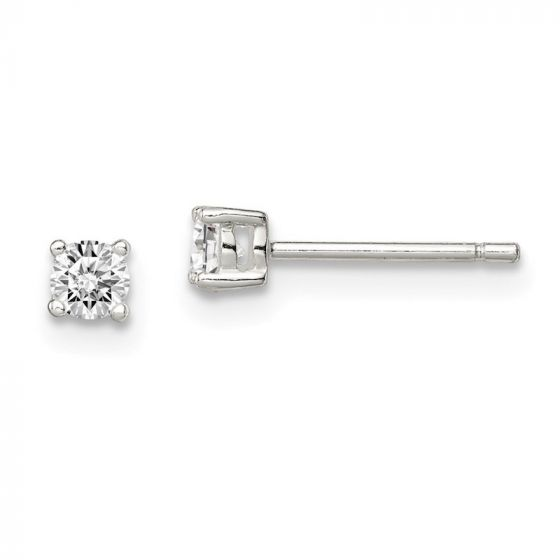 Sterling Silver 8x6 Basket Set CZ Stud Earrings