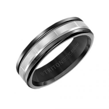 Triton Black Tungsten Carbide Black Wedding Band