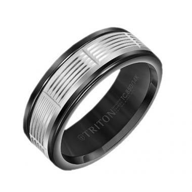 Triton Black Tungsten Carbide Wedding Band