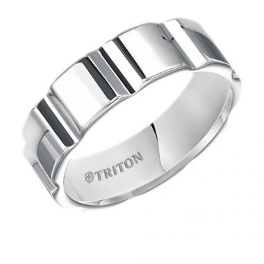 Triton Flat White Tungsten Carbide Wedding Band