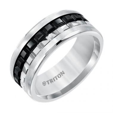 Triton Multi Textured Two Tone Tungsten Carbide Wedding Band
