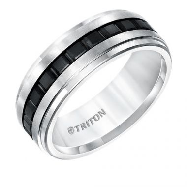 Triton Step Edge Flat Two Tone Tungsten Carbide Wedding Band