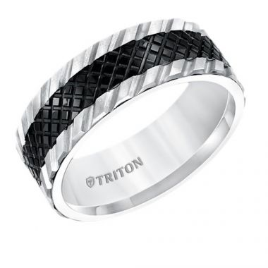 Triton Multi Textured Two Tone Tungsten Carbide Wedding Band