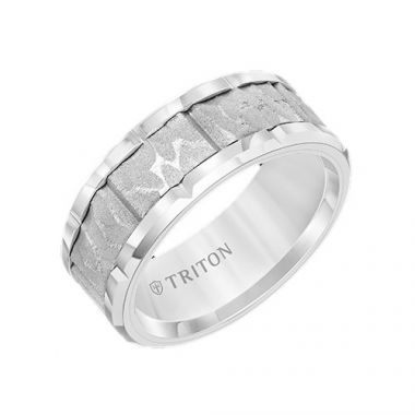 Triton Tungsten Carbide White Wedding Band