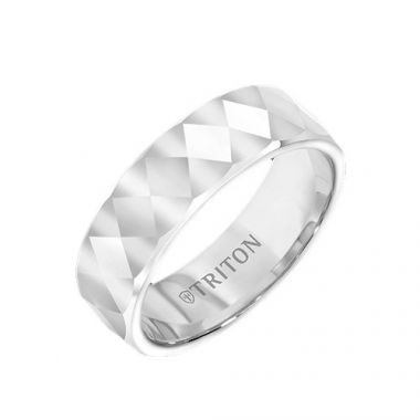 Triton White Tungsten Carbide Wedding Band