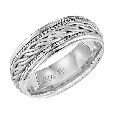 ArtCarved 14k White Gold Braided Wedding Band