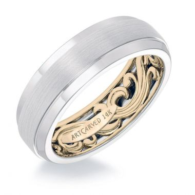 ArtCarved 14k Two Tone Gold Mens Fancy Wedding Band