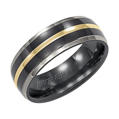 ArtCarved Titanium and 14k Yellow Gold 7mm Comfort Fit Wedding Band