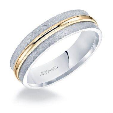 ArtCarved 14k Two Tone Gold Men's Crystalline Finish Wedding Band