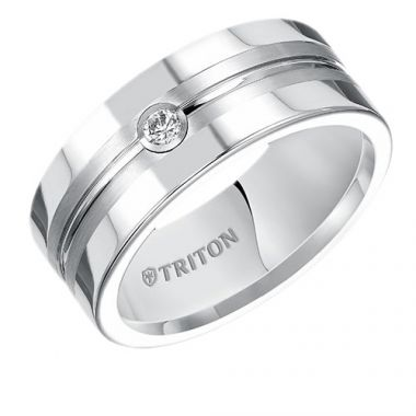 Triton Flat Black  Tungsten Carbide Wedding Band