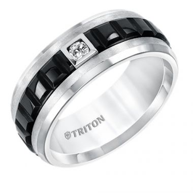 Triton Bevel Edge Two Tone Tungsten Carbide Ring