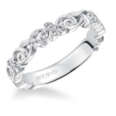 Art Carved 14k White Gold Fiona Stackable Wedding Band