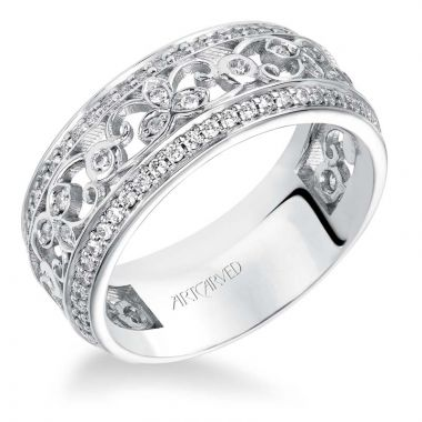 Art Carved 14k White Gold Joyce Stackable Wedding Band