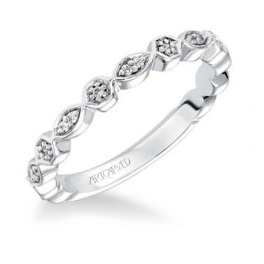 Art Carved 14k White Gold Veronica Stackable Wedding Band