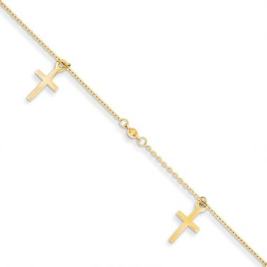 Quality Gold 14k Polished and Textured CrossAnklet