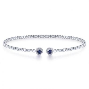 Gabriel & Co. 14k White Gold Bujukan Gemstone & Diamond Bangle Bracelet