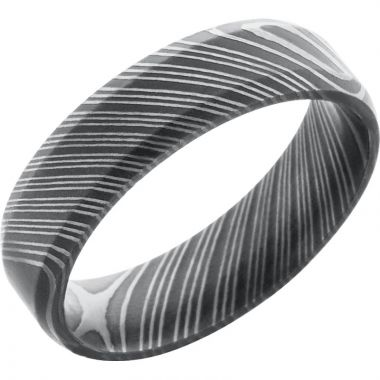 Lashbrook Black & White Damascus Steel 6mm Men's Wedding Band